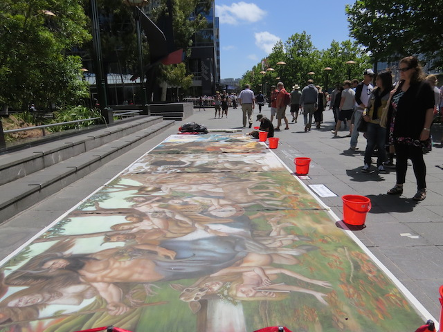 """I LOVE Artists making art in Melbourne's Streets. This picture was taken on Southbank last January (near the Crown Casino). This is different from usual """"street art"""" but still - amazing."""