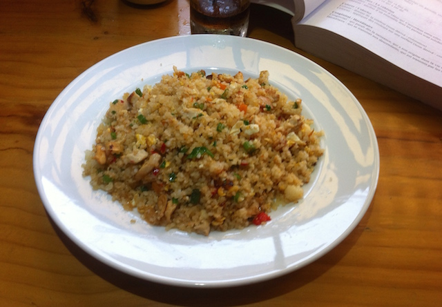 Fried rice with vegetables and chicken
