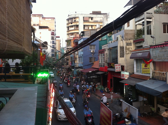 View from Hong Han's terrace. Bui Vien street - busy as always.